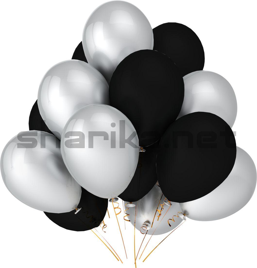 Облако воздушных шариков (12''/30 см) Черные и белые
