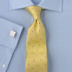 Рубашка мужская под запонки синяя в мелкую белую клетку T.M.Lewin приталенная Slim Fit (44652)