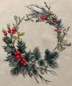 """Cross stitch pattern """"Christmas wreath""""."""