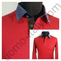 Рубашка-поло красная с длинным рукавом