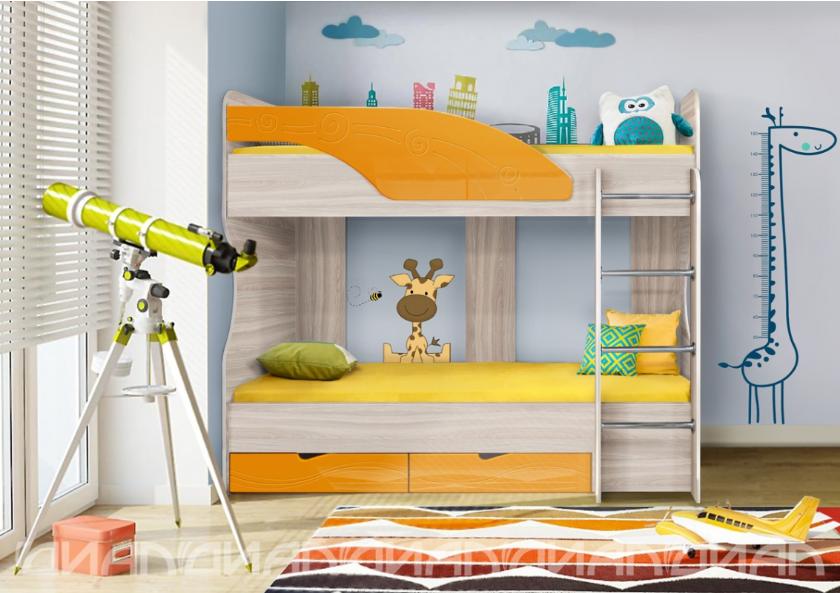 Детская Бриз МДФ Кровать -5 манго