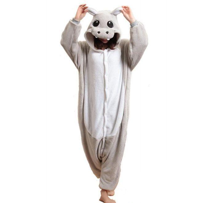 Пижама Кигуруми Бегемотик Серый