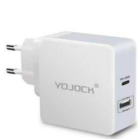 Зарядное устройство YOJOCK USB-C + USB 45W PD для нотбуков Xiaomi/Apple (черный)