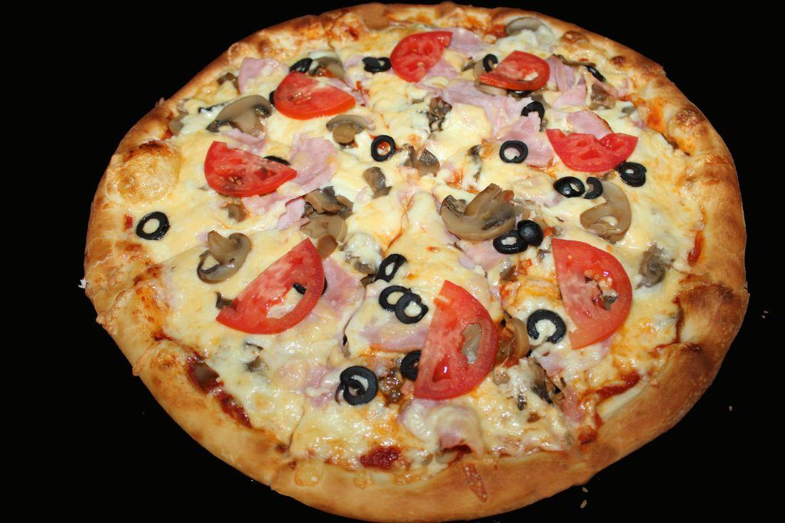 Пицца грибная с ветчиной (600 гр.)