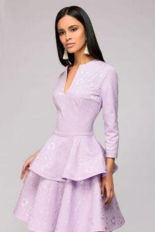 Платье сиреневое длины мини с баской и рукавами 3/4 (DM01022VL)