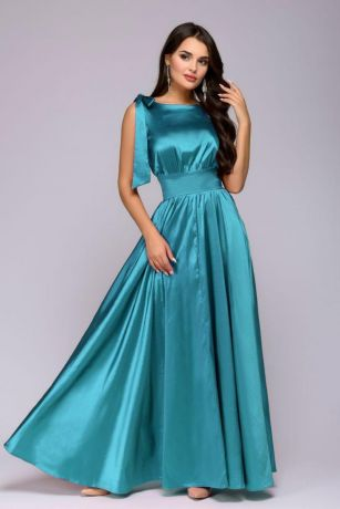 Платье бирюзовое длины макси без рукавов (DM00541TR)