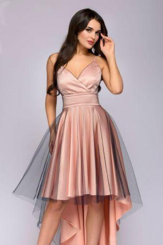 Платье разноуровневое на бретелях персикового цвета с контрастной сеткой (DM01134PH)