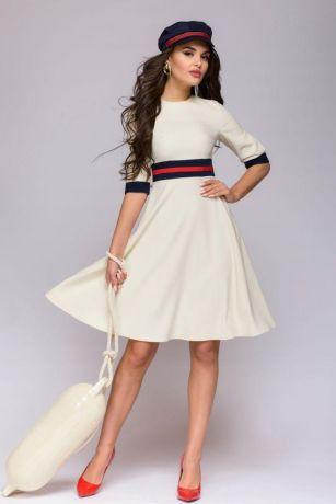 Платье ванильного цвета длины мини с цветным поясом и манжетами (DM01097VA)