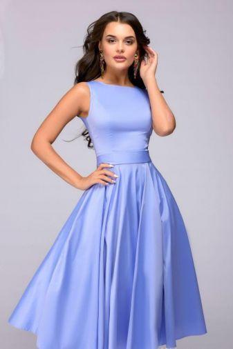 Платье сиреневое длины миди в стиле ретро (DM01009VL)