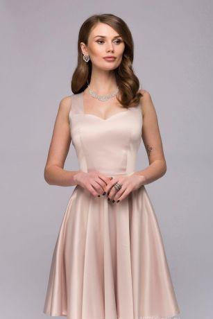 Платье ванильного цвета длины мини с оригинальным вырезом на спинке (DM00730VA)