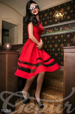 Платье габардин красное (11266)