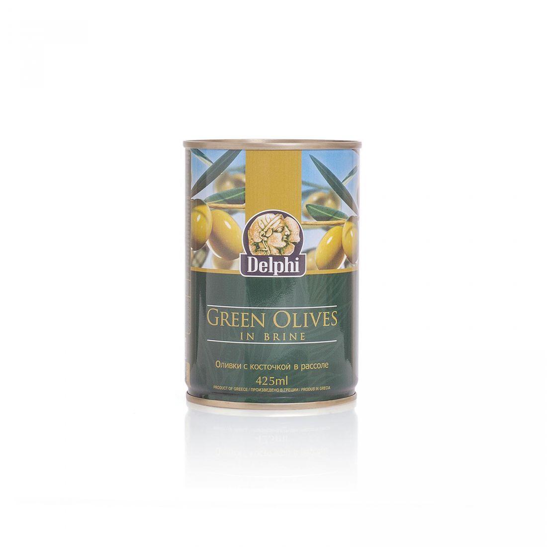 Оливки зеленые Delphi - 400 гр с косточкой в рассоле, жесть