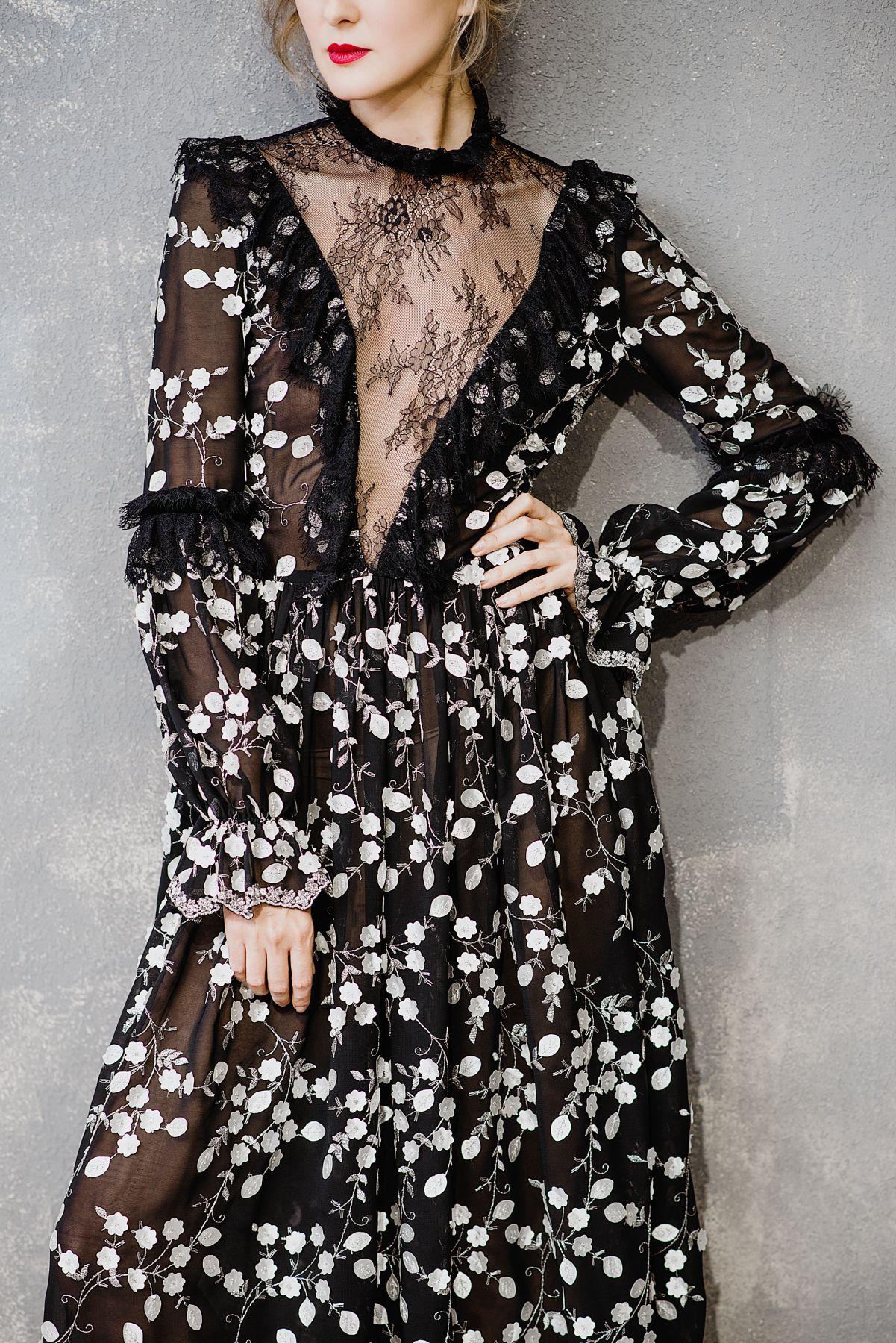 Платье от кутюр, вечернее черное платье с вышивкой купить в Москве ... b87d73f542f