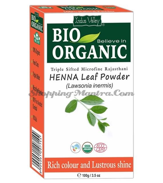 Натуральная хна для волос и мехенди Индус Веллей | Indus Valley Bio Organic Henna Leaf Powder