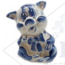 Сувенир Гжель Символ Года 2019 ОПТОМ - Хрюшка 8,5x5,5x6,5 см