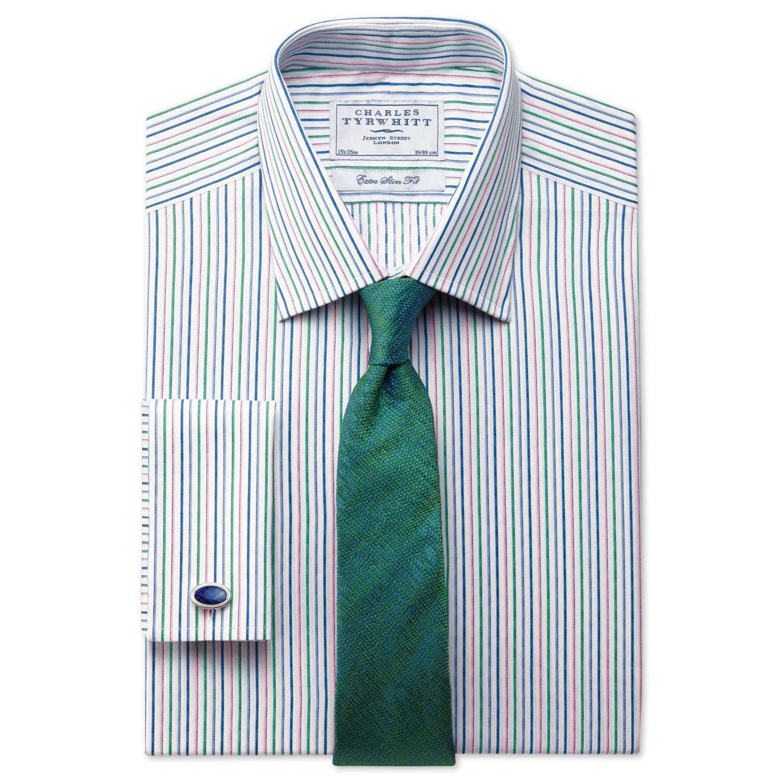 004aada1596 Мужская рубашка под запонки в красно-сине-зеленую полоску Charles Tyrwhitt  сильно приталенная Extra