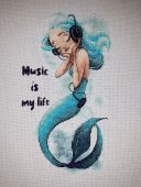 "Digital cross stitch pattern ""Music Is My Life""."
