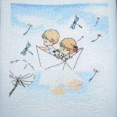 Cross stitch pattern Gentle illustration Paper boat.