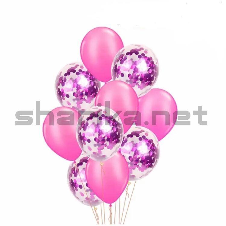 Композиция из розовых шариков с конфетти