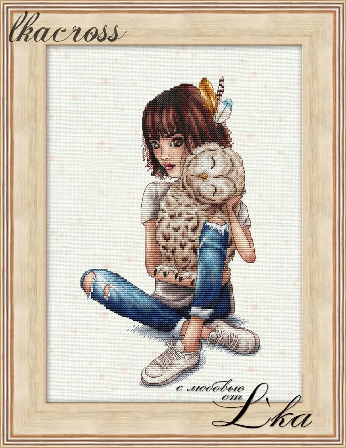 """Feathered hugs"". Digital cross stitch pattern."