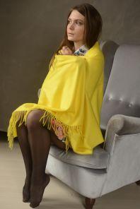 Роскошная классическая шотландская  шаль, высокая плотность, 100 % драгоценный кашемир , Новый ярко -желтый цвет (премиум) Vibrant Yellow 100% Cashmere Stole