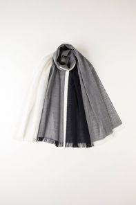 легкий тонкорунный экстра широкий шарф Нейви Квадрант, QUADRANT NAVY & WHITE, 100% шерсть мериноса, плотность 2.