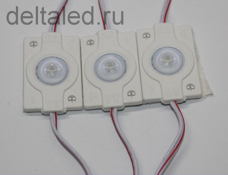 Модуль светодиодный 3030 водозащищенный однодиодный, 1,5 Вт. угол свечения 160 гр. кабель 20 см