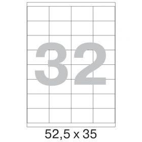 73642 / 640024 Этикетки самоклеящиеся Mega label белые 52.5х35 мм (32 штуки на листе А4, 100 листов в упаковке)