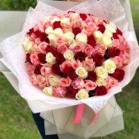 101 роза микс 60см