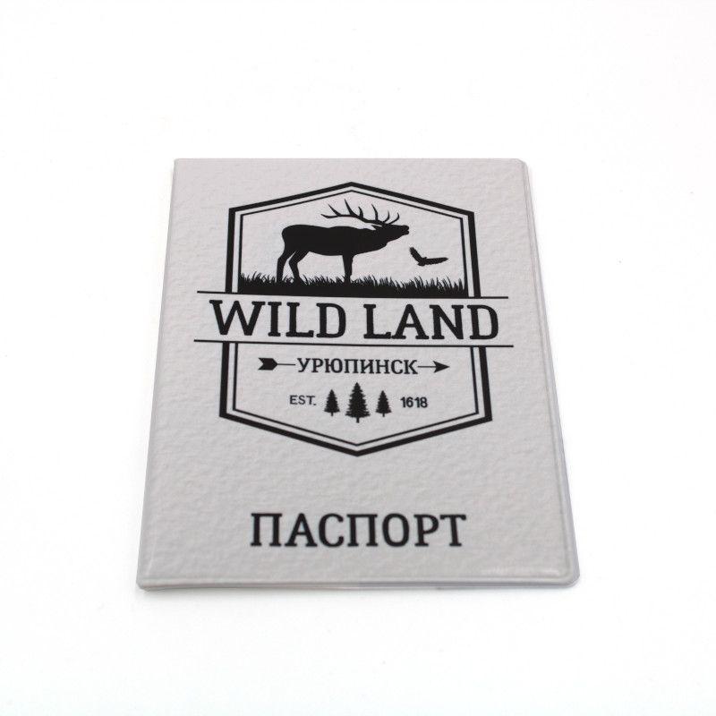 """Обложка для паспорта """"Вайлд ленд белый"""""""