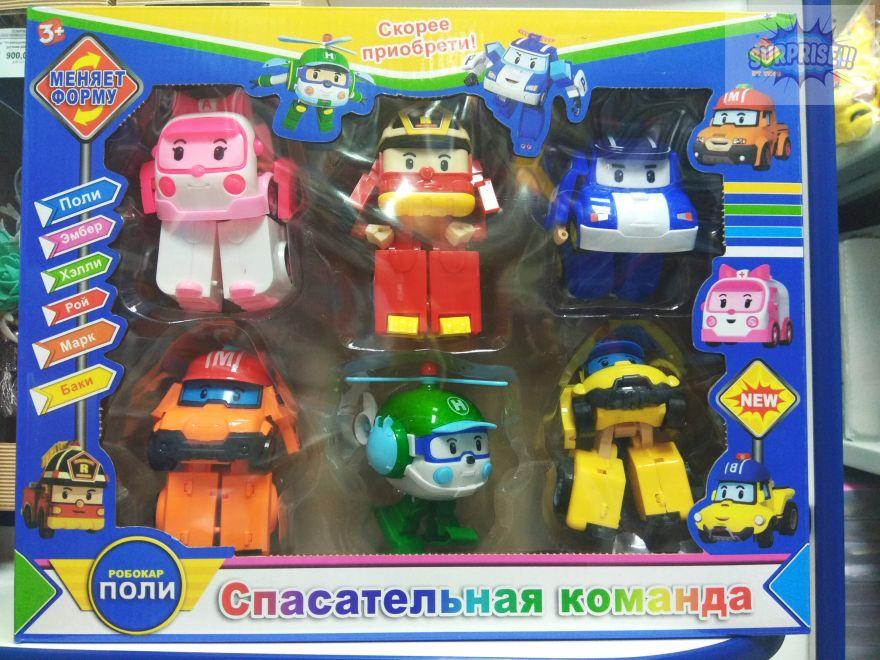 Робокар Поли Трансформер набор 6 героев (№DT-335)