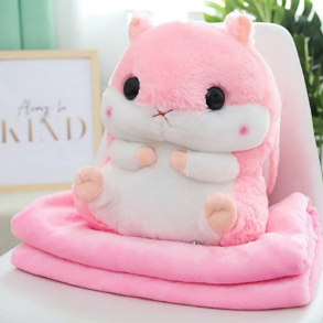Подушка-игрушка с пледом Хомяк 3 в1 (розовая)