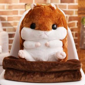Подушка-игрушка с пледом Хомяк 3 в1 (коричневая)