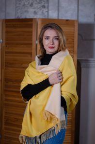Двусторонняя шотландская  шаль, высокая плотность, 100 % драгоценный кашемир , расцветка - Контраст Нейви -Абрикосовый и Желтый  (премиум) Yellow / Apricot CONTRAST REVERSIBLE CASHMERE