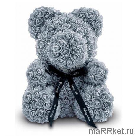 Мишка из роз 40 см (серый)