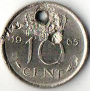 10 центов. 1965 год. Нидерланды.