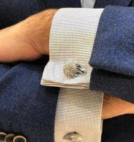 """Серебряные запонки """"Орел"""" с натуральным камнем Оникс."""