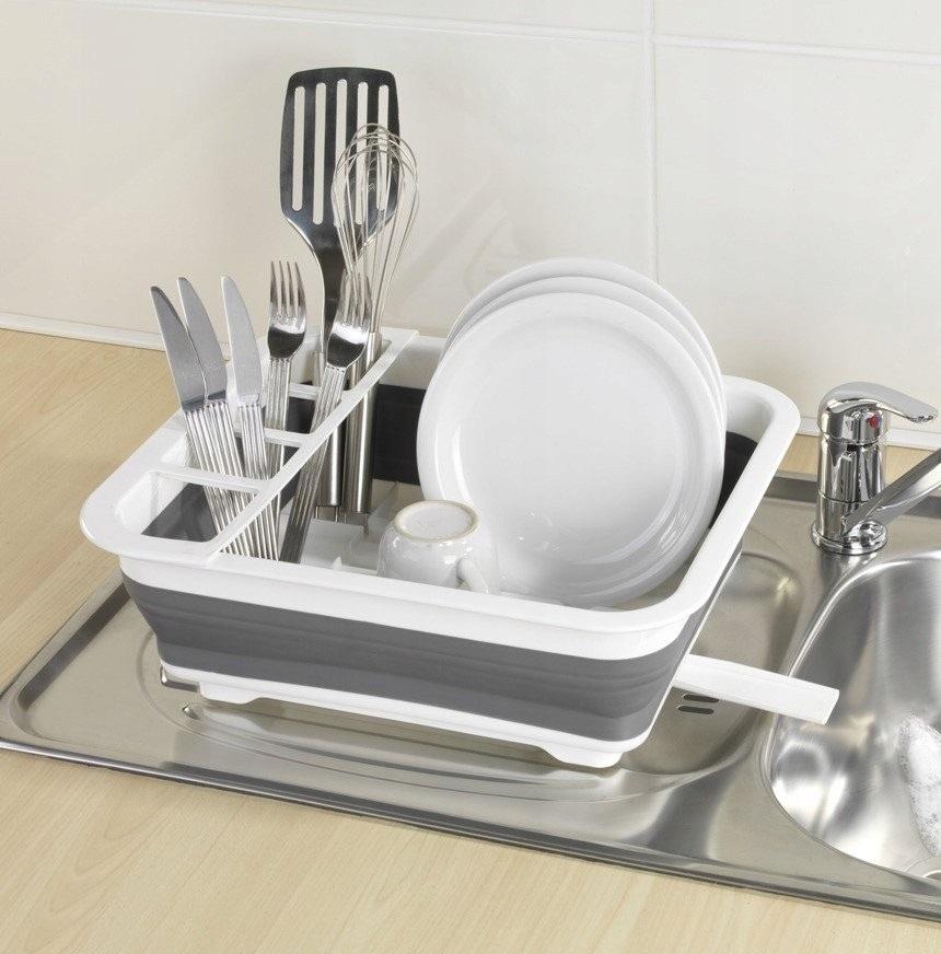 Складная силиконовая сушилка-поддон для посуды