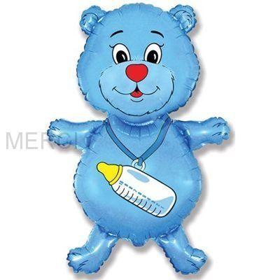 "Шар фигура ""Медвежонок"", синий"