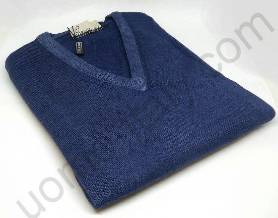 Джемпер шерсть V-образный вырез синий (последний размер 50)