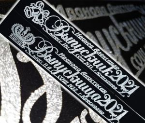 Ленты для Выпускников 2021, бархат, чёрные, серебром