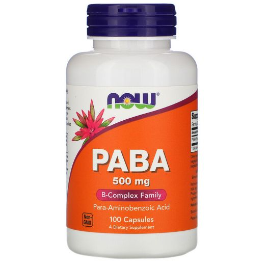 PABA-500mg 100caps, NOW