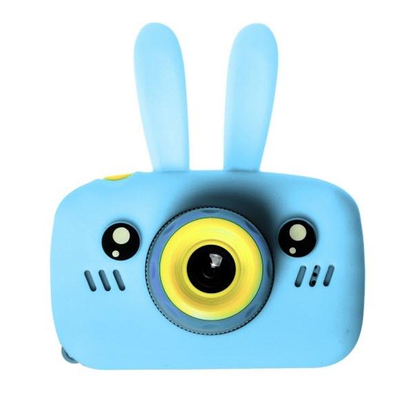 Детский цифровой фотоаппарат с селфи камерой. Зайчик. Цвет: Голубой