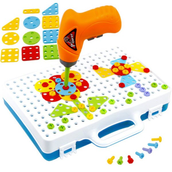 Конструктор-мозаика в чемодане c шуруповертом Magic Plate Puzzle 2в1. 144 деталей