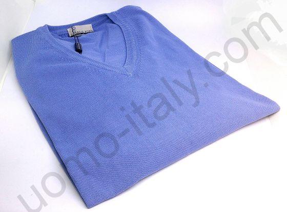 Джемпер Giorgio Porta голубой с v-образным вырезом и накладными локтями