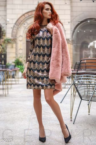 Короткое платье с пайетками 29007