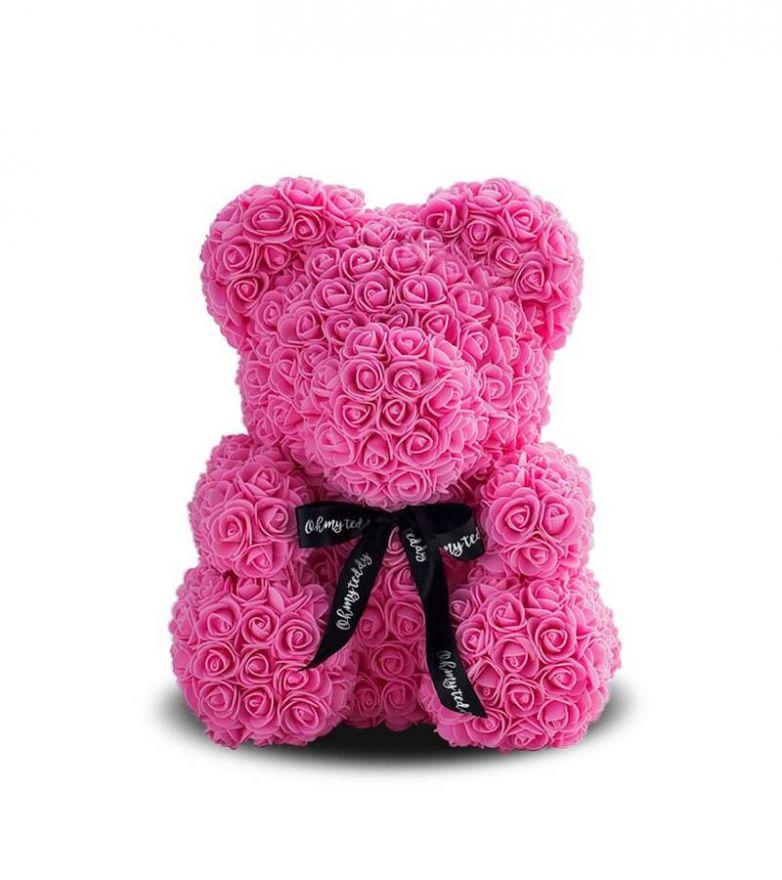 Мишка из роз с бантом