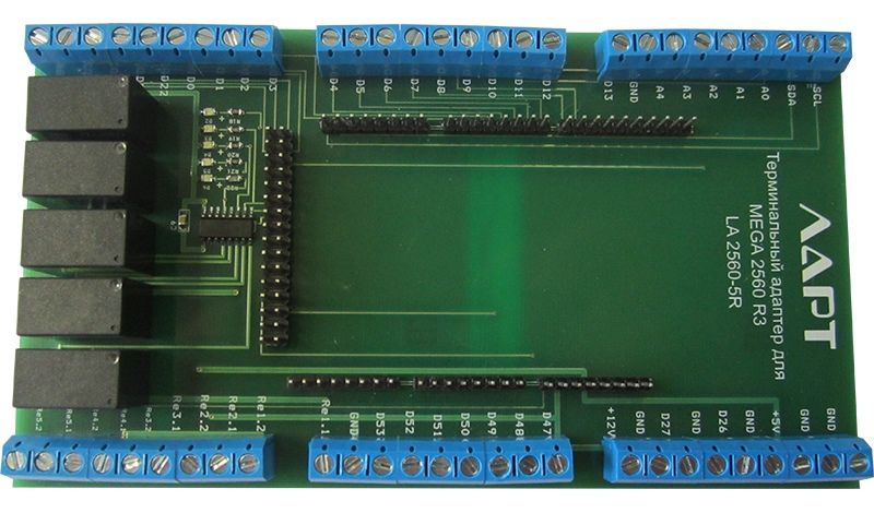 Терминальный адаптер для Arduino Mega2560 на DIN рейку. ЛАРТ LA2560-5R