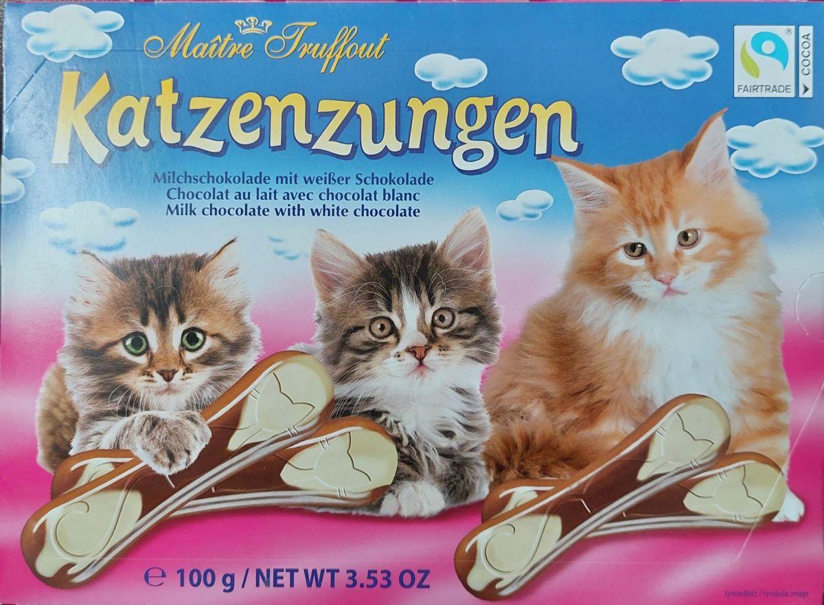 """Шоколад Maitre Truffout """"Кошачьи языки"""" (молочный и белый шоколад) 100г"""