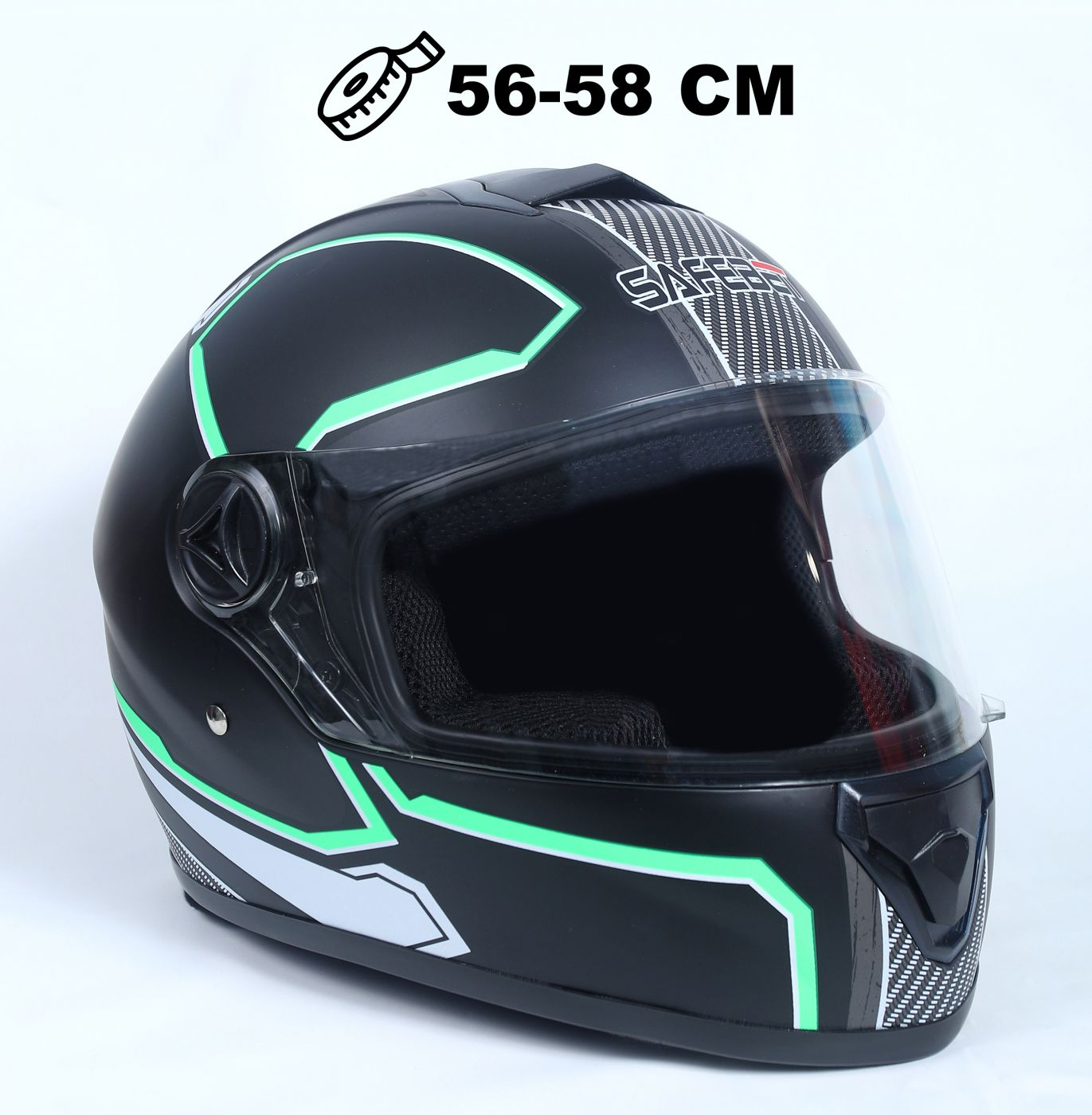 Шлем интеграл Safebet 112 matt black, green
